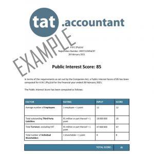 Public Interest Score Certificate Example